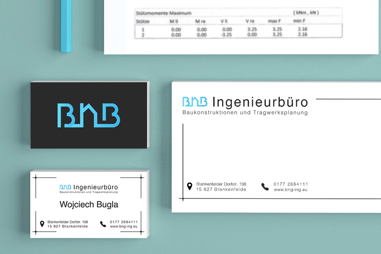 BNB ingenieurburo branding mockup fourth different close up