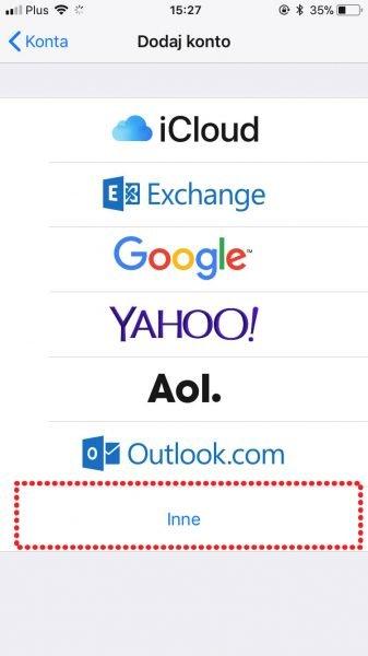 konfiguracja maila pod ios iphone